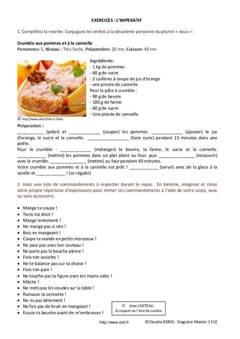exercice recette de cuisine fiche pédagogique fle impératif