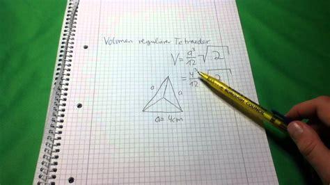 volumen eines tetraeders dreieckspyramide berechnen