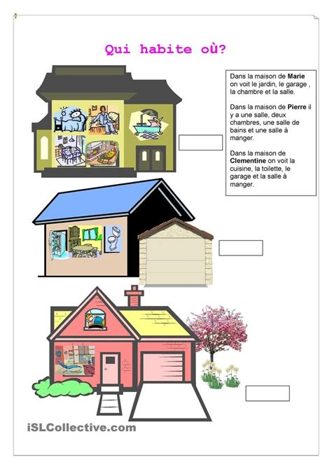 qui habite ou  images french worksheets french