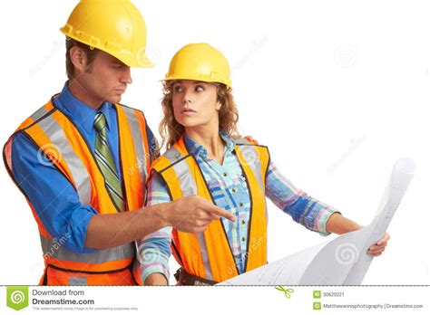 attractive male  female construction workers