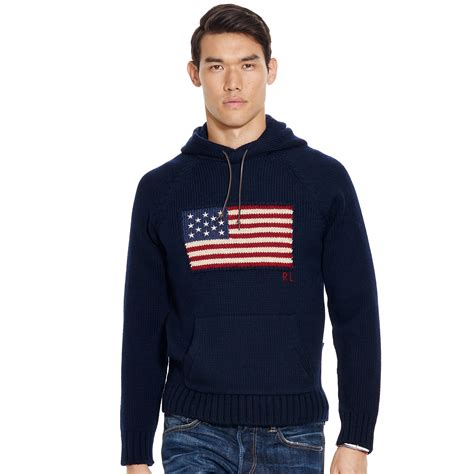 ralph polo sweaters polo ralph flag wool hooded sweater in blue for
