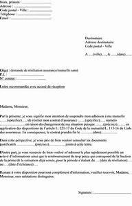 Remboursement Assurance Emprunteur Lettre Type : exemple de lettre de r siliation assurance sant mutuelle ~ Gottalentnigeria.com Avis de Voitures