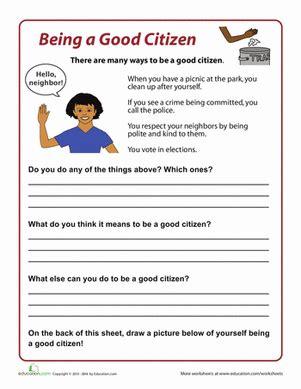 good citizen worksheets culture  community