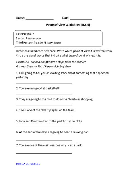 English Worksheets  6th Grade Common Core Worksheets