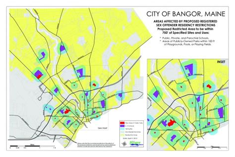 offenders in maine map bangor council restricts where offenders may live