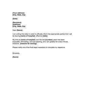 Great for hospital staff, doctors, and nurses, this printable resignation letter notifies
