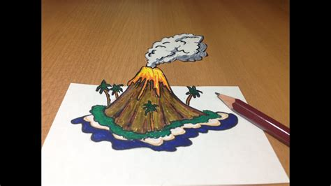 3d Volcanic Island Drawing Anamorphic Illusion Youtube