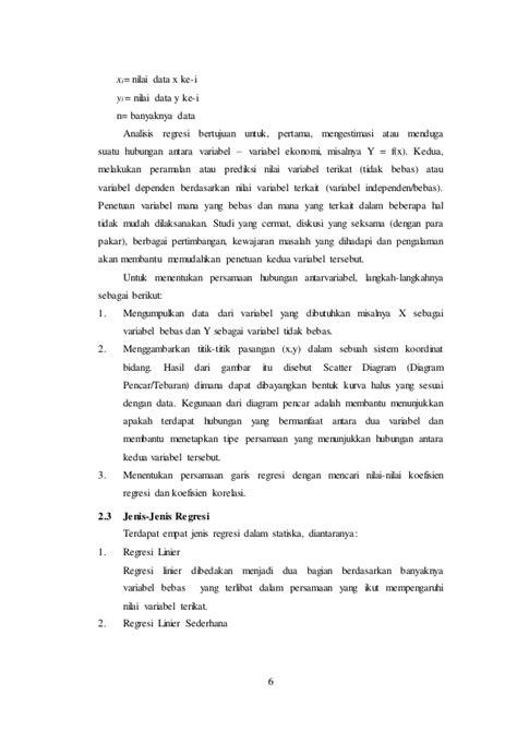 Laporan Pratikum analisis regresi linier sederhana