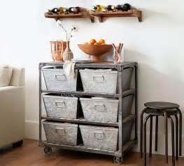galvanized metal floor storage pottery barn