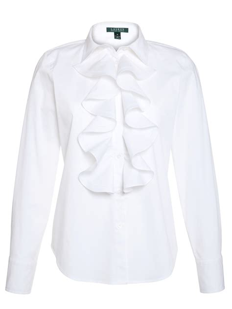ruffled white blouse by ralph sleeve ruffle blouse in white