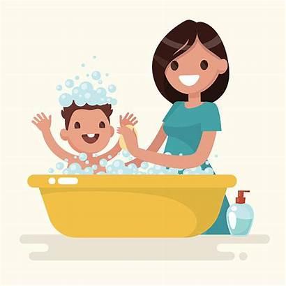 Vector Mother Happy Bathtub Washes Illustration Clip