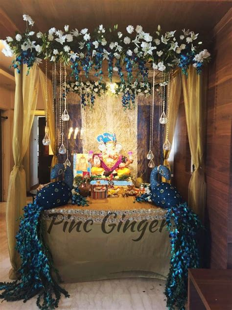 peacock theme ganpati decoration contact