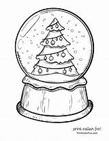 Globe Snow Coloring Christmas Pages Globes Tree Printable Drawing Xmas Snowglobe Winter Adult Sheets Easy Blank Printcolorfun Template Drawings Sheet sketch template