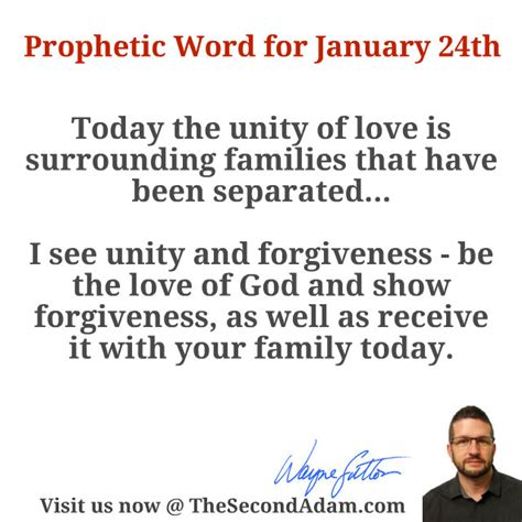January 24 Daily Prophetic Word  The Second Adam
