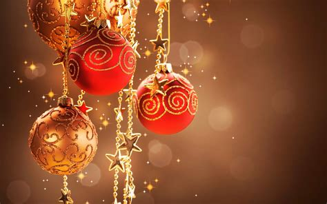 red  gold christmas ornaments  stars wallpaper
