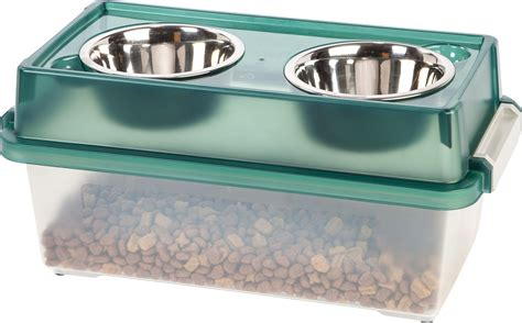 Elevated Feeders by Iris Elevated Feeder With Airtight Food Storage Green