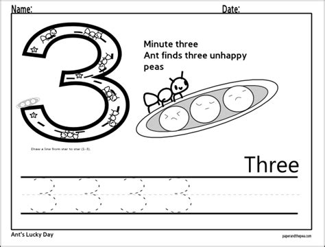 number three tracing worksheet math concepts