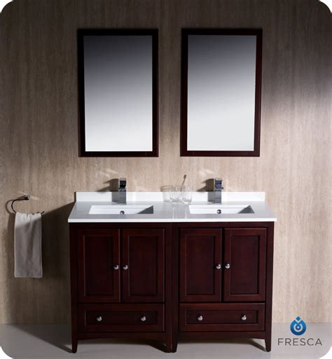 fresca oxford collection 48 quot mahogany traditional double sink bathroom vanity with top sink