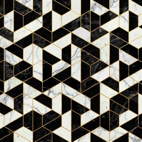 black and white floor l black and white marble hexagonal pattern art print by