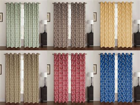 2 Pack Celine Window Panel, Window Curtains, Lattice Pattern, 5 Colors, 54