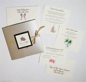 beach chic wedding invitations mospens studio With tri fold beach wedding invitations