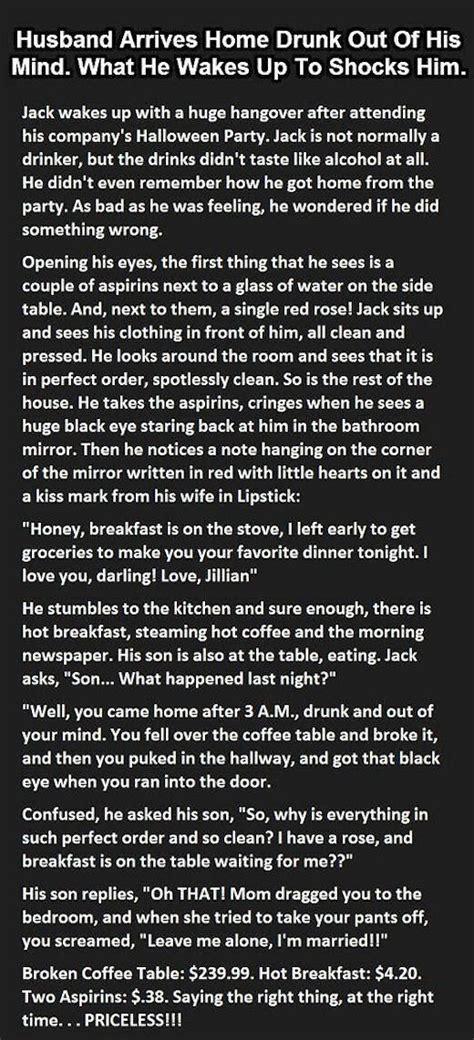 husband arrives home drunk    mind   wakes