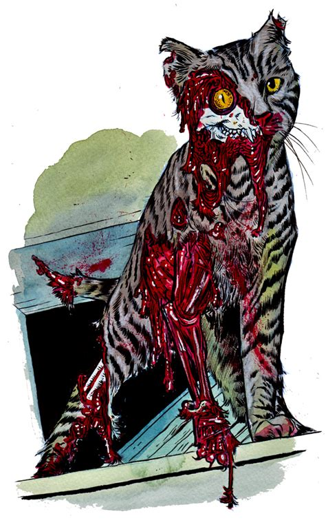zombie cat zombies animal cats sacchetto cute kitty continues week halloween rob sad dead creepy gross undead makeup scary caliban