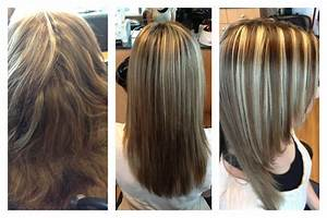 Keratin treatment, brown hair and chunky blonde highlights ...