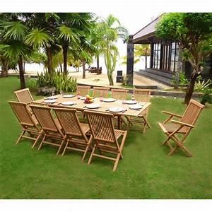 Salon De Jardin En Teck En Promotion : mobilier en teck naturel salon de jardin en teck 10 personnes table rectangulaire ~ Teatrodelosmanantiales.com Idées de Décoration