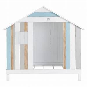 Lit Cabane 90x190 : lit cabane enfant 90x190 en bois blanc et bleu oc an maisons du monde ~ Teatrodelosmanantiales.com Idées de Décoration