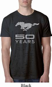 Mens Ford Shirt Mustang 50 Years Burnout Tee T-Shirt - Mustang 50 Years Mens Ford Mustang Shirts