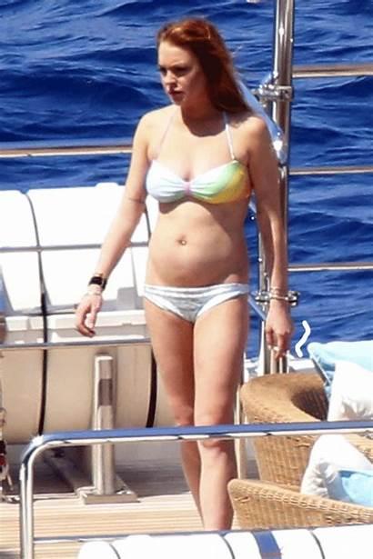 Lohan Lindsay Bikini Yacht Gifs Bottom Italy