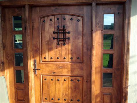 rustic exterior doors  sidelights knotty alder wood