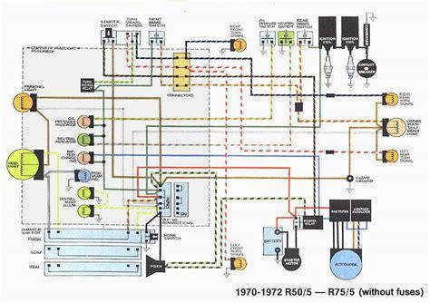 bmw motorcycle wiring diagram schematic bmw r50 5 r75 5 1970 72 motorcycle wiring diagram all