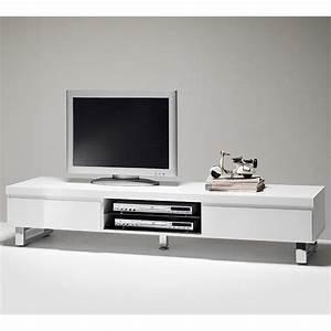 Meuble Tv Led Blanc Laqué : meuble design blanc laque maison design ~ Teatrodelosmanantiales.com Idées de Décoration