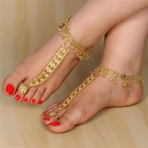 brand  gold tone indian anklet payal