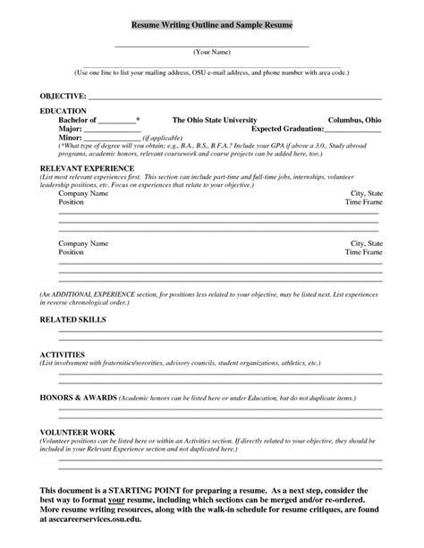 resume writing outline and sle resume is there a