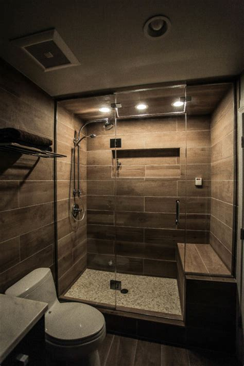 Contemporary Spa Bathroom with Heated Shower Bench