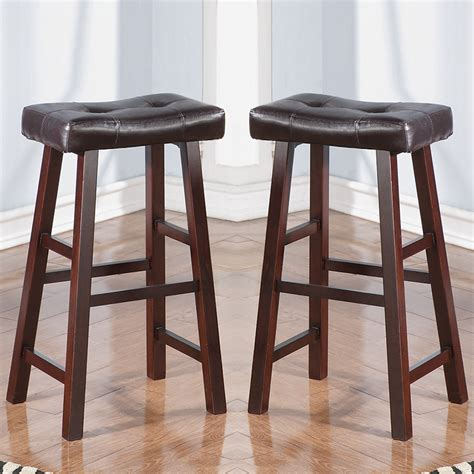 set of 2 cherry faux leather solid wood 29h saddle
