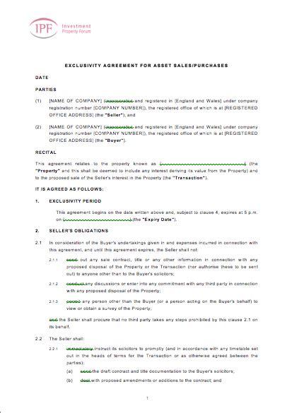 exclusivity agreement template eloquens