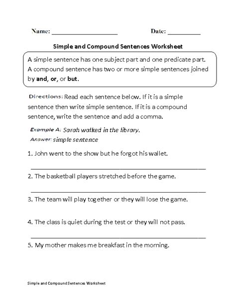 Simple And Compound Sentences Worksheet  Kids School Stuff  Simple, Compound Sentences