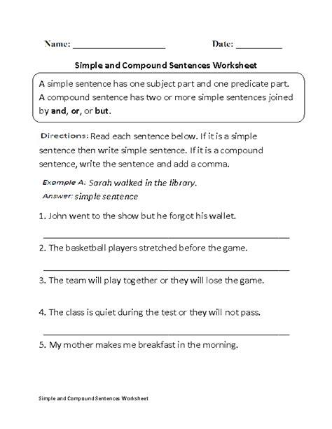 simple  compound sentences worksheet kids school