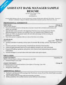 assistant manager resume exles sle cover letter sle resume bank manager