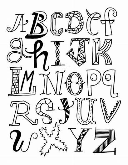 Alphabet Letters Doodle Coloring Pages Lettering Hand