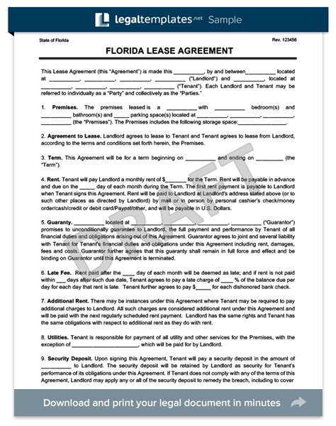 florida residential leaserental agreement create