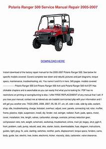 Polaris Ranger 500 Service Manual Repair 2005 By Shaniqua