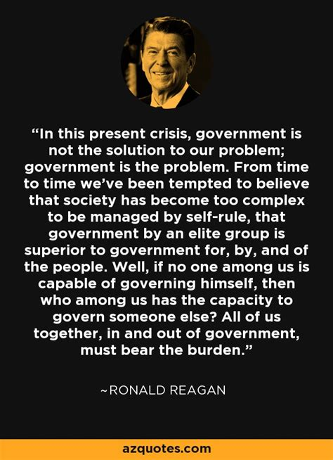 ronald reagan quote   present crisis government