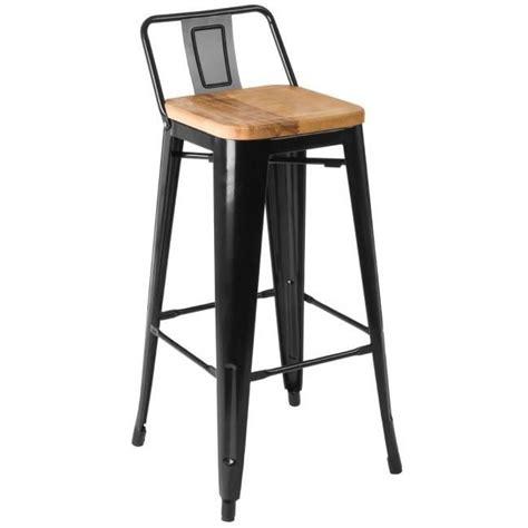 chaise de bar bois chaise de bar en métal noir et assise en bois de frêne