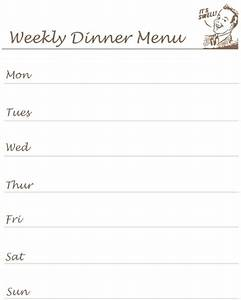 reclaiming the home printable what39s for dinner list With dinner menu template for home