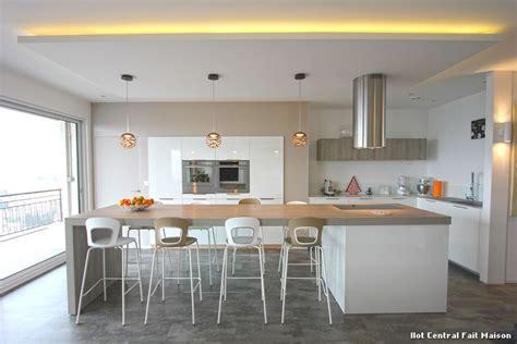 cuisine fait ilot central fait maison with contemporain jardin